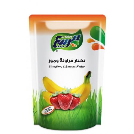 Amarein Strawberry & Banana Nectar Juice by El Rabie Made In Egypt