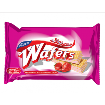Wafers filled with strawberry cream  by Bisco Misr